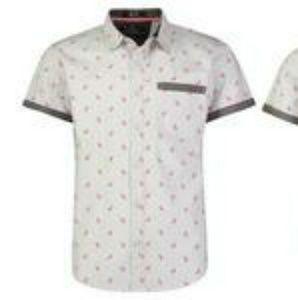 White All Over Print Chambray Shirt Med Slim Fit